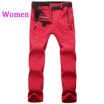 Womens Snow Pants with Fleece Interior - red / S
