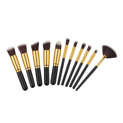 Flawless Makeup Brush - 10 PCs - 11 Gold - Silver
