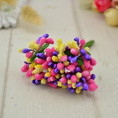 Handmade Stamen Flower Set (12Pcs) - 11 color