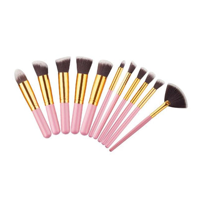Flawless Makeup Brush - 10 PCs - 11 Pink - Gold