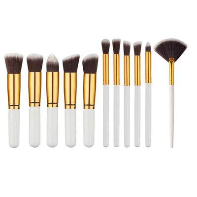 Flawless Makeup Brush - 10 PCs - 11 White - Gold