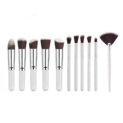 Flawless Makeup Brush - 10 PCs - 11 White - Silver
