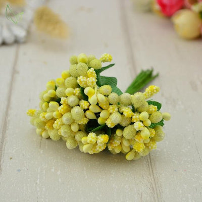 Handmade Stamen Flower Set (12Pcs) - 12 yellow