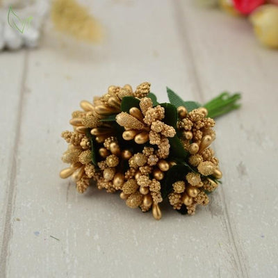 Handmade Stamen Flower Set (12Pcs) - 14 gold