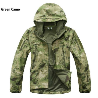 Softshell Tactical Hooded Jacket - Green Camo / S