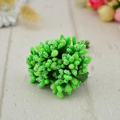 Handmade Stamen Flower Set (12Pcs) - 15 green