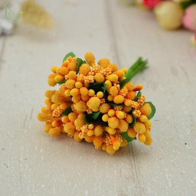 Handmade Stamen Flower Set (12Pcs) - 16 orange