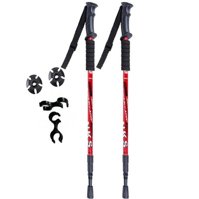 Ultralight Adjustable Folding Hiking Stick - Red