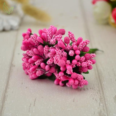 Handmade Stamen Flower Set (12Pcs) - 1 rose red