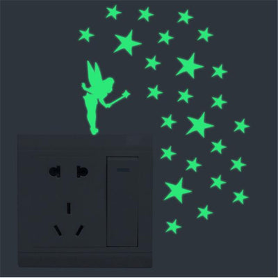 Home Decor Luminous Stickers - 1pc Green Girl
