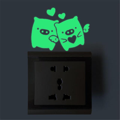 Home Decor Luminous Stickers - 1pc Green  Happy pig