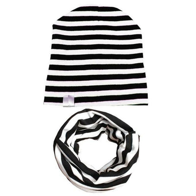Spring&Autumn Kids Stripe Beanie - Black white