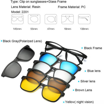 5 in 1 Magnetic Lens Swappable Sunglasses - 2201
