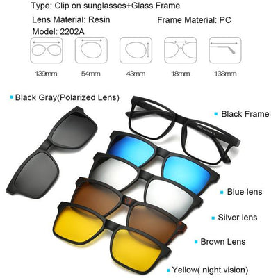 5 in 1 Magnetic Lens Swappable Sunglasses - 2202A