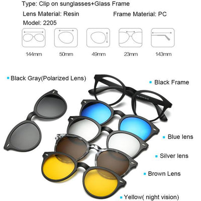 5 in 1 Magnetic Lens Swappable Sunglasses - 2205