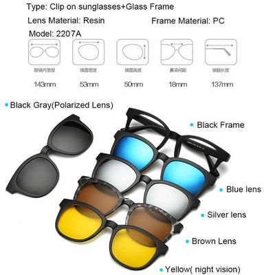 5 in 1 Magnetic Lens Swappable Sunglasses - 2207A