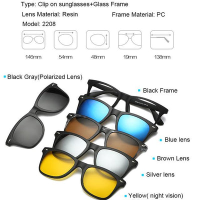 5 in 1 Magnetic Lens Swappable Sunglasses - 2208