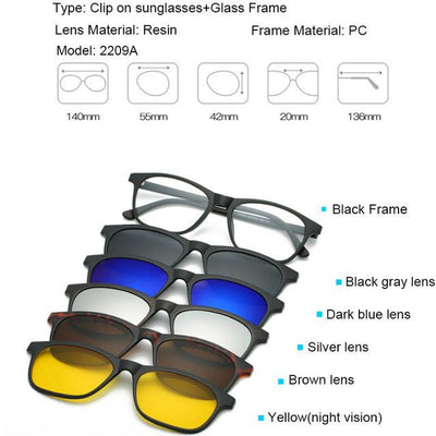 5 in 1 Magnetic Lens Swappable Sunglasses - 2209A