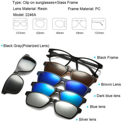 5 in 1 Magnetic Lens Swappable Sunglasses - 2246A