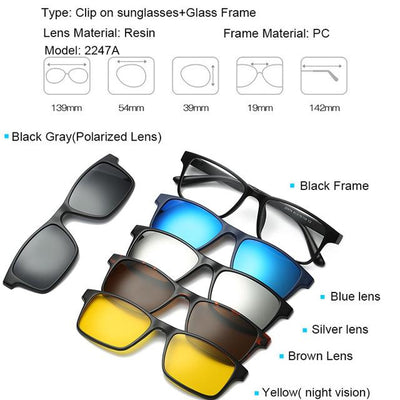 5 in 1 Magnetic Lens Swappable Sunglasses - 2247A