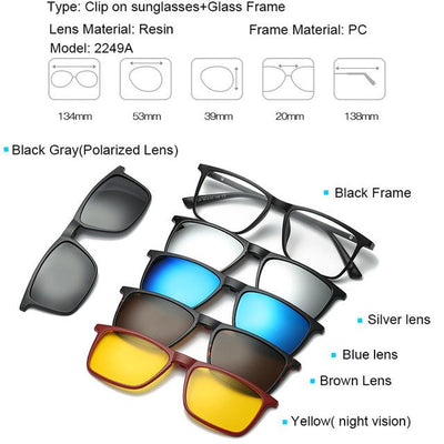 5 in 1 Magnetic Lens Swappable Sunglasses - 2249A