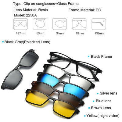 5 in 1 Magnetic Lens Swappable Sunglasses - 2250A