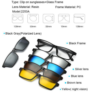 5 in 1 Magnetic Lens Swappable Sunglasses - 2253A