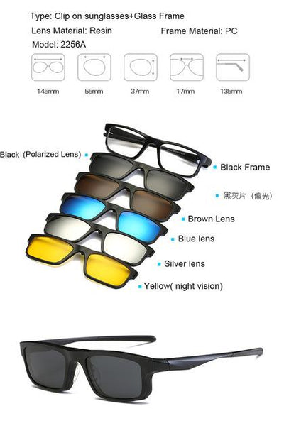 5 in 1 Magnetic Lens Swappable Sunglasses - 2256A