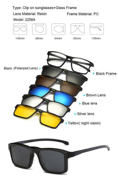 5 in 1 Magnetic Lens Swappable Sunglasses - 2258A
