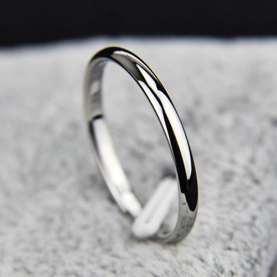 Titanium Steel & Rose Gold Simple Wedding Ring - 4 / J6