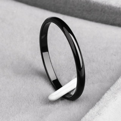 Titanium Steel & Rose Gold Simple Wedding Ring - 4 / J7