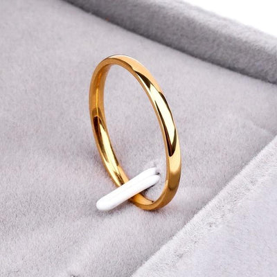 Titanium Steel & Rose Gold Simple Wedding Ring - 4 / J8
