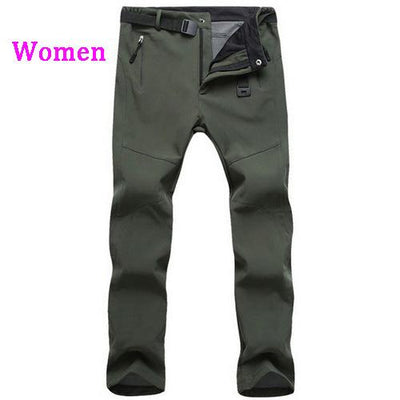 Womens Snow Pants with Fleece Interior - army green / S
