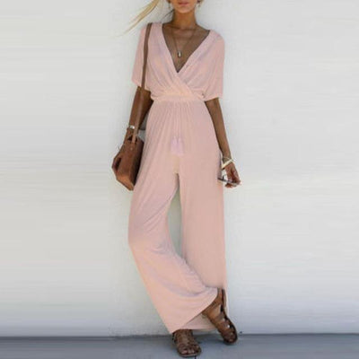 V Neck Casual Jumpsuit - Rose / S