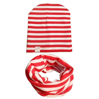 Spring&Autumn Kids Stripe Beanie - Red White