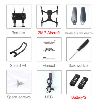 Foldable Camera Quadcopter - 2MP x 2 Battery
