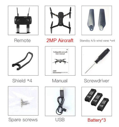 Foldable Camera Quadcopter - 2MP x 3 Battery