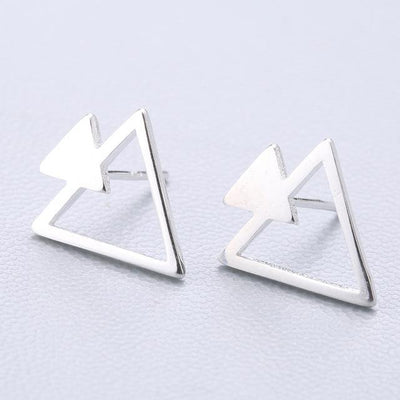 Casual Silver Stud Earrings - 2 Triangle