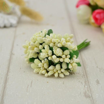 Handmade Stamen Flower Set (12Pcs) - 2 milk white