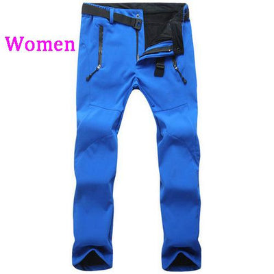 Womens Snow Pants with Fleece Interior - blue / S