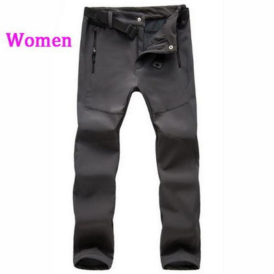 Womens Snow Pants with Fleece Interior - gray / S