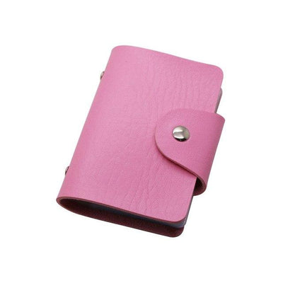Unisex 24 Bits Leather Card Case - pink
