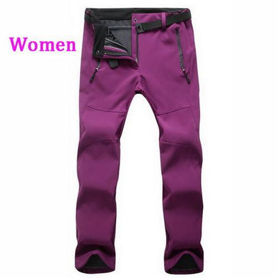 Womens Snow Pants with Fleece Interior - wine / S