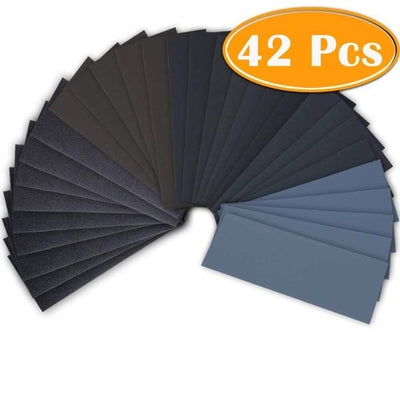 Wet Dry Sandpaper Sheets - 42PCS