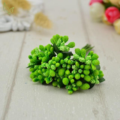 Handmade Stamen Flower Set (12Pcs) - 4 grass green