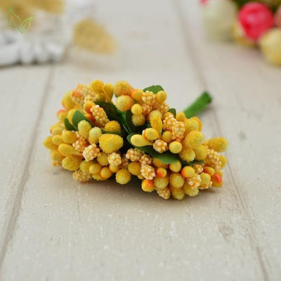 Handmade Stamen Flower Set (12Pcs) - 5 orange