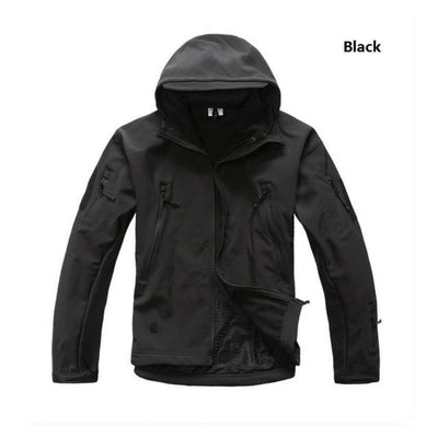 Softshell Tactical Hooded Jacket - Black / S