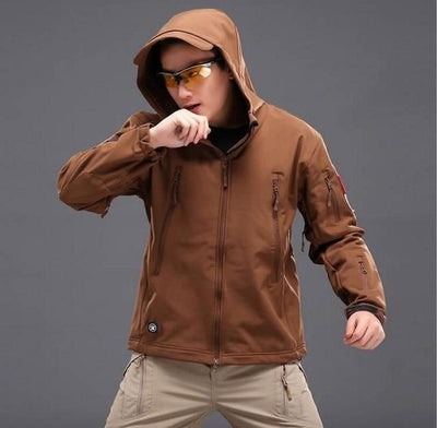 Softshell Tactical Hooded Jacket - Brown / S