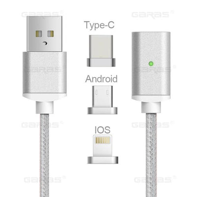 Lightning Cable - 3-in-1 (iOS+Micro+Type-C) Cable / Silver / 1m