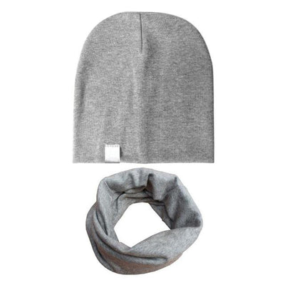 Spring&Autumn Kids Stripe Beanie - Light Grey